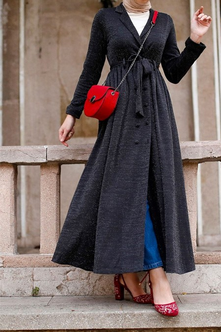 Esra Keküllüoğlu Siyah Simli Ceket Elbise