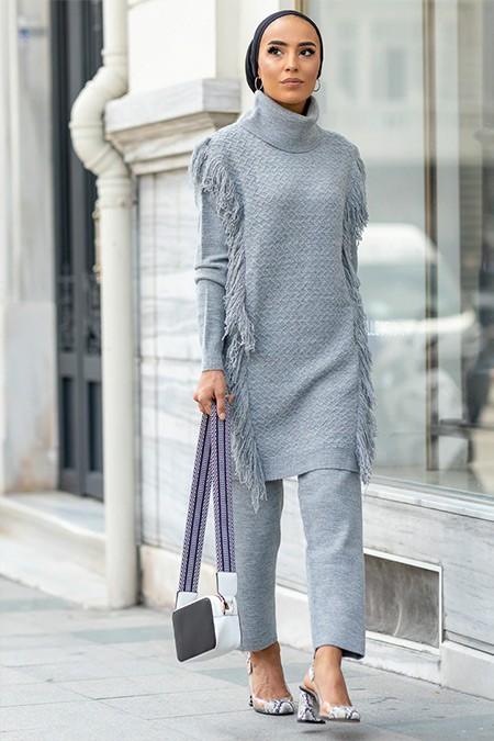 Gizem Kış Gri Tunik & Pantolon 2'li Takım