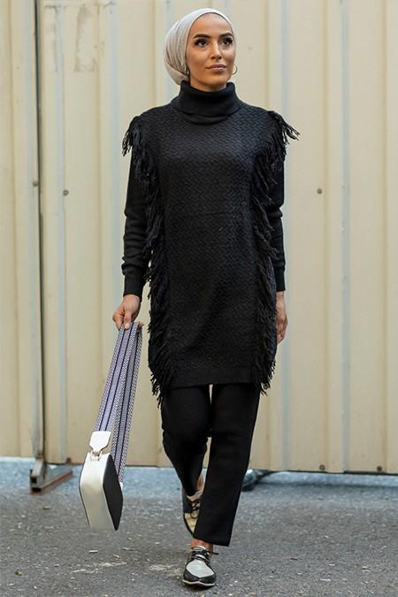 Gizem Kış Siyah Tunik & Pantolon 2'li Takım