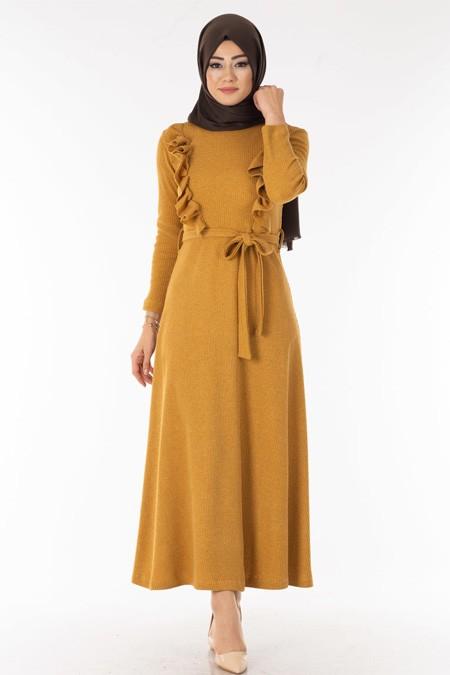 Hardal Göğsü Fırfırlı Tesettür Elbise