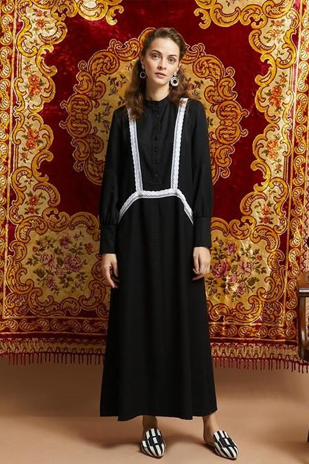 Qras Siyah Dantel Detaylı Elbise