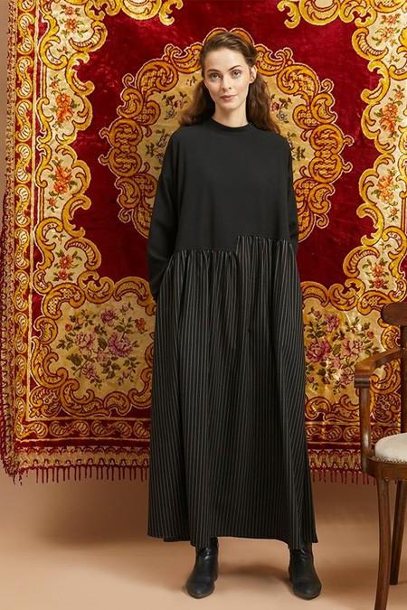 Qras Siyah Garnili Elbise