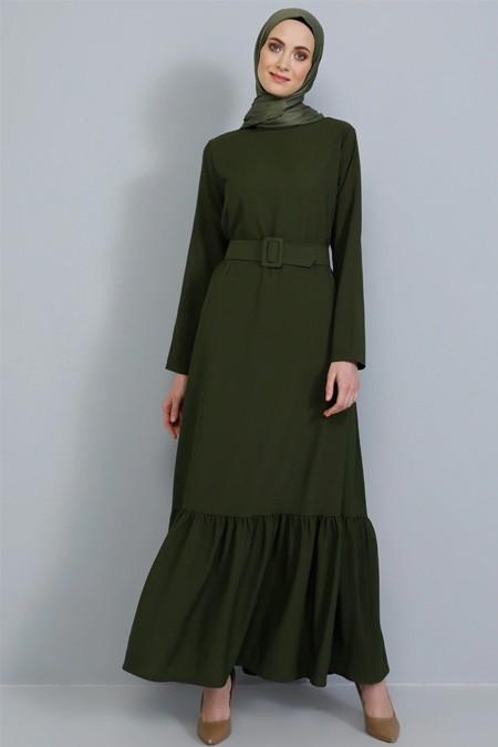 Tavin Haki Kemer Detaylı Volanlı Elbise