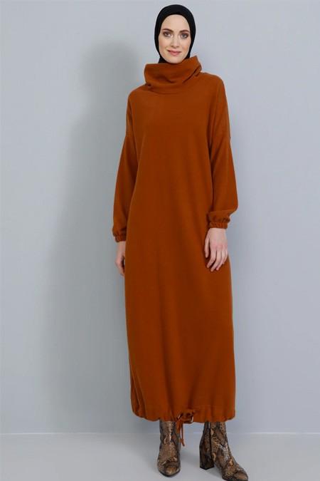 Tavin Kiremit Eteği Büzgülü Triko Elbise