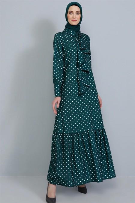 Tavin Zümrüt Volan Detaylı Puantiyeli Elbise