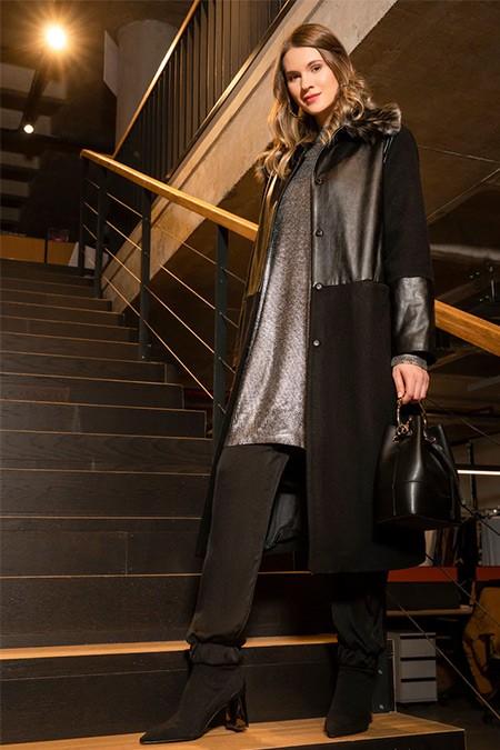 Alia Siyah Cep Detaylı Çıtçıtlı Kaban