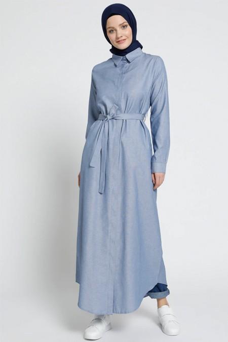 Everyday Basic İndigo Doğal Kumaşlı Gizli Düğmeli Uzun Tunik Elbise