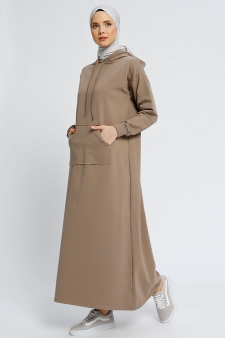 Everyday Basic Koyu Vizon Düz Renk Spor Elbise