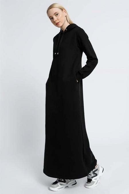 Everyday Basic Siyah Cep Detaylı Kapüşonlu Elbise