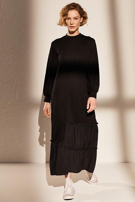 LC Waikiki Siyah Fırfır Detaylı Uzun Viskon Elbise