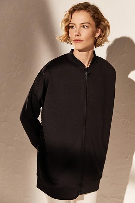 LC Waikiki Siyah Sırt Detaylı Fermuarlı Oversize Sweatshirt