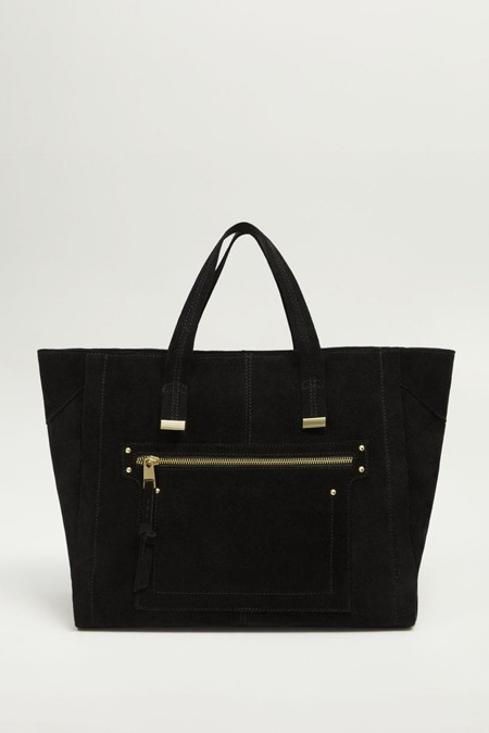 Mango Siyah Deri Shopper Çanta