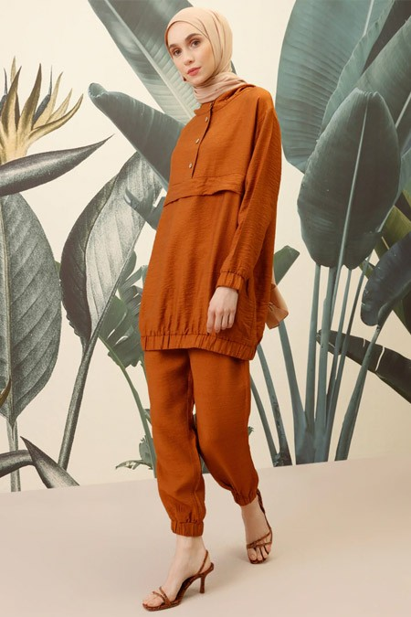 Mnatural Kahverengi Tunik Pantolon Takım