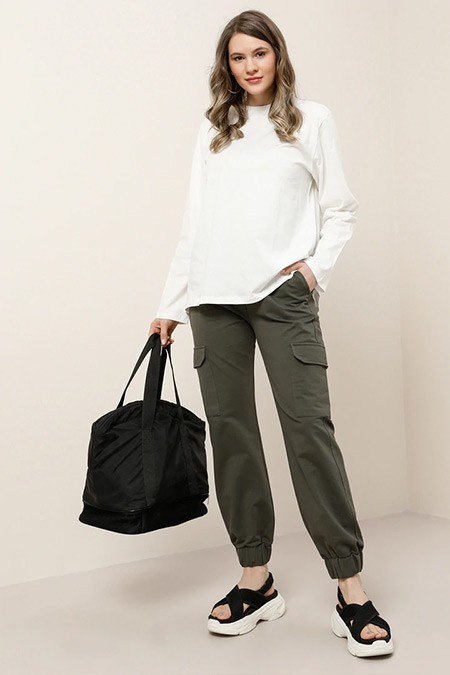 Alia Haki Cep Detaylı Beli Lastikli Pantolon
