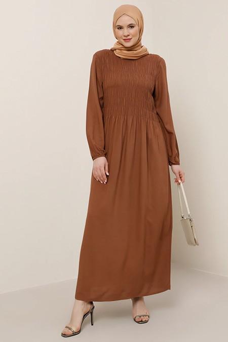 Alia Kiremit Doğal Kumaşlı Büzgü Detaylı Elbise