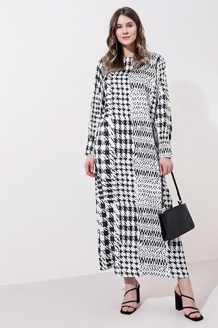 Alia Siyah Beyaz Kazayağı Desenli Elbise