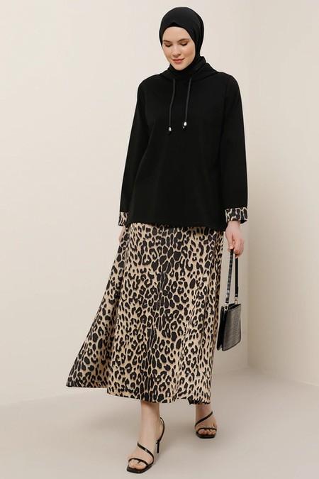 Alia Siyah Doğal Kumaşlı Leopar Desenli Etek&Tunik Kapüşonlu İkili Takım