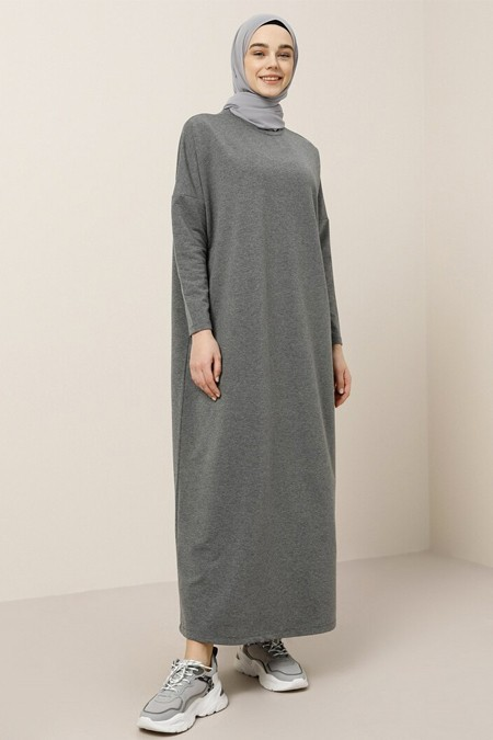 Benin Antrasit Cep Detaylı Elbise
