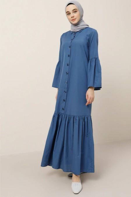 Benin Derin Mavi Doğal Kumaşlı Boydan Düğmeli Elbise