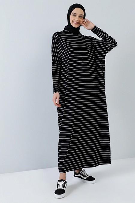 Benin Siyah Doğal Kumaşlı Salaş Elbise