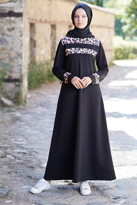 Elif Okur Siyah Kahverengi Leopar Spor Elbise