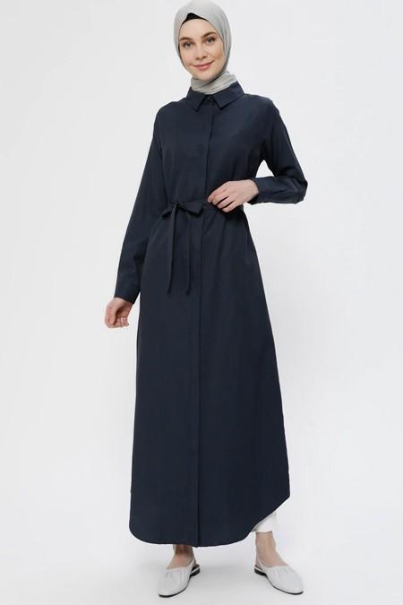 Everday Basic Lacivert Doğal Kumaşlı Gizli Düğmeli Elbise