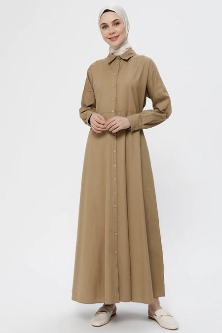 Everyday Basic Koyu Vizon Boydan Düğmeli Elbise