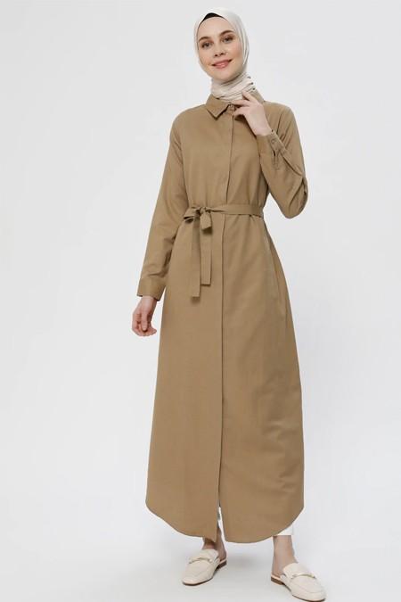 Everyday Basic Doğal Kumaşlı Gizli Düğmeli Tunik Elbise