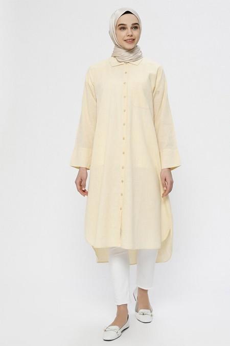 Everyday Basic Sarı Beyaz Doğal Kumaşlı Boydan Düğmeli Tunik