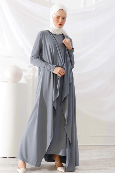 İnşirah Gri Elbise & Kap İkili Takım