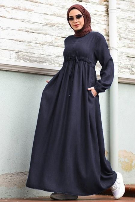 Neways Lacivert Belden Bağcıklı Elbise