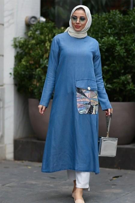 Neways Mavi Payet Cep Detaylı Kot Tunik