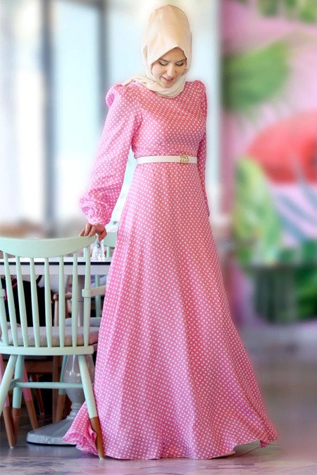 Nurkombin Pembe Puantiyeli Elbise