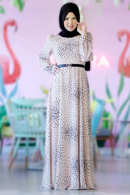 Nurkombin Somon Puantiyeli Elbise