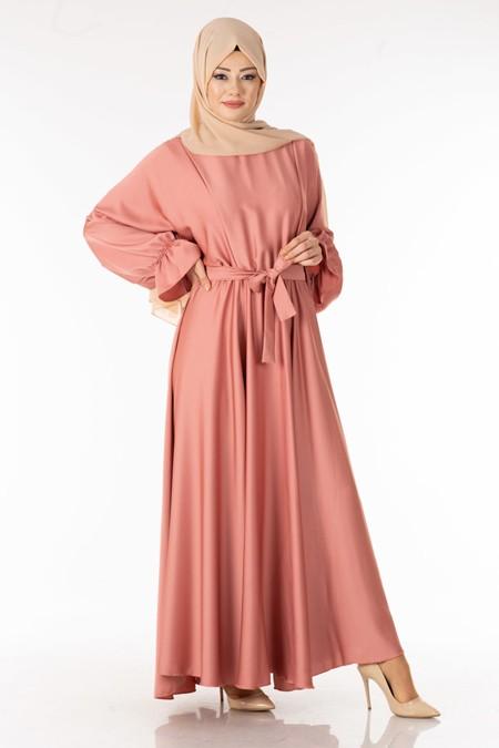 Pudra Saten Tesettür Elbise