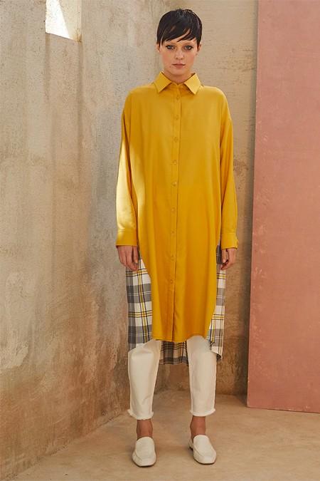 Qooq Store Sarı Ekoseli Tunik