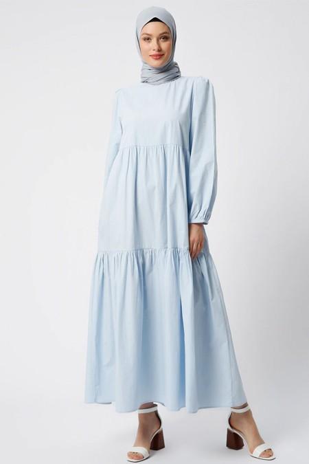 Refka Açık Mavi Doğal Kumaşlı Cep Detaylı Elbise