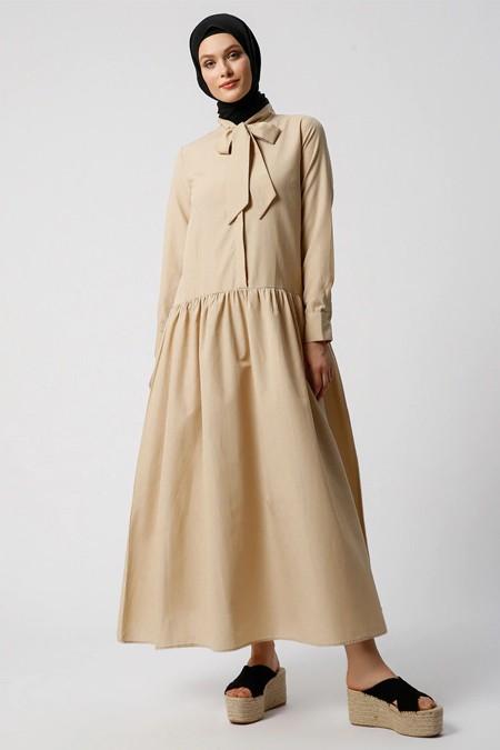 Refka Vizon Yaka Detaylı Gizli Düğmeli Elbise