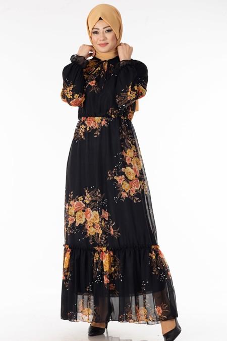 Siyah Hardal Çiçekli Şifon Elbise