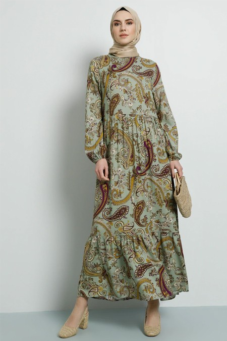 Tavin Çağla Doğal Kumaş Viskon Desenli Elbise