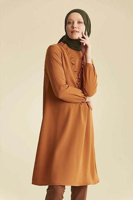 Venn Camel Fırfır Detaylı Tunik