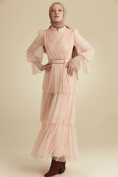 Venn Pudra Tül Elbise