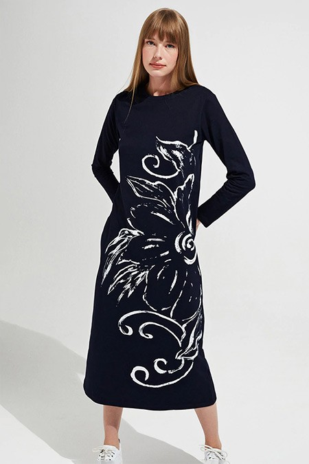 Muni Muni Lacivert Baskılı Natürel Elbise