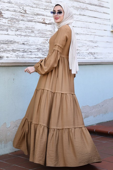 Neways Camel Pileli Elbise