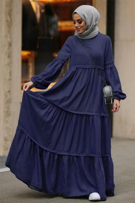 Neways Lacivert Fırfırlı Kot Elbise
