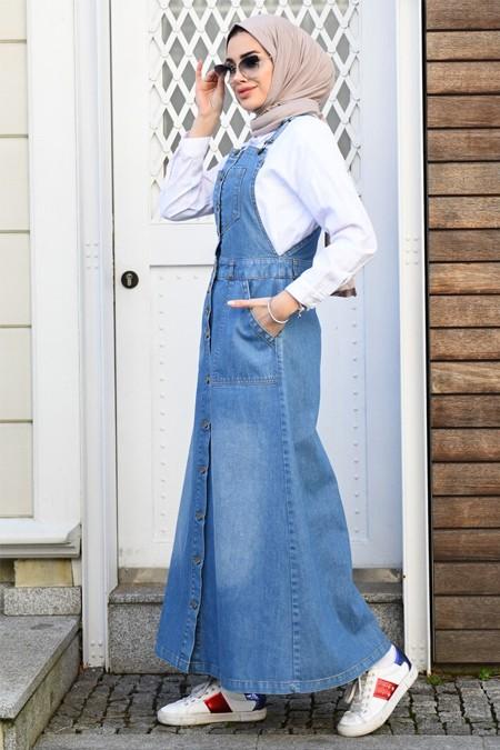 Neways Mavi Askılı Kot Elbise