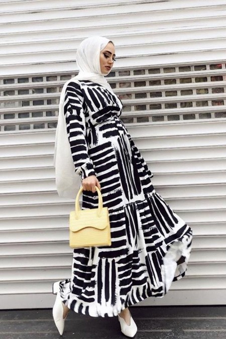 RUBYSCO Siyah Beyaz Çizgili Elbise