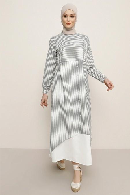 Refka Lacivert Garnili Çizgi Desenli Elbise