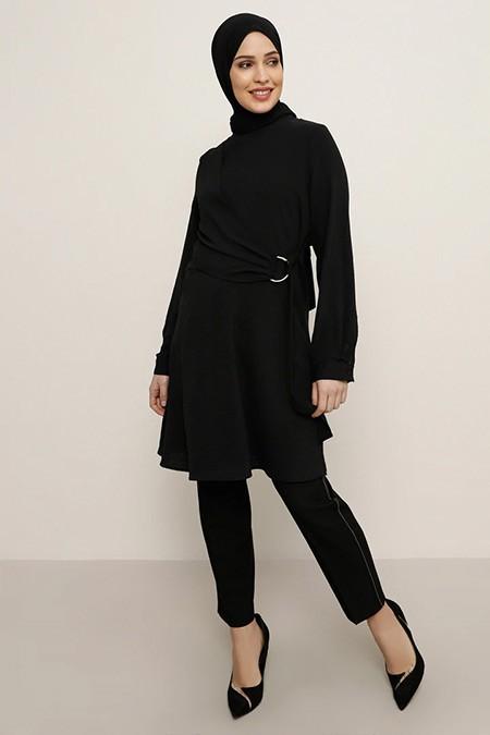 Refka Siyah Düz Renk Tunik