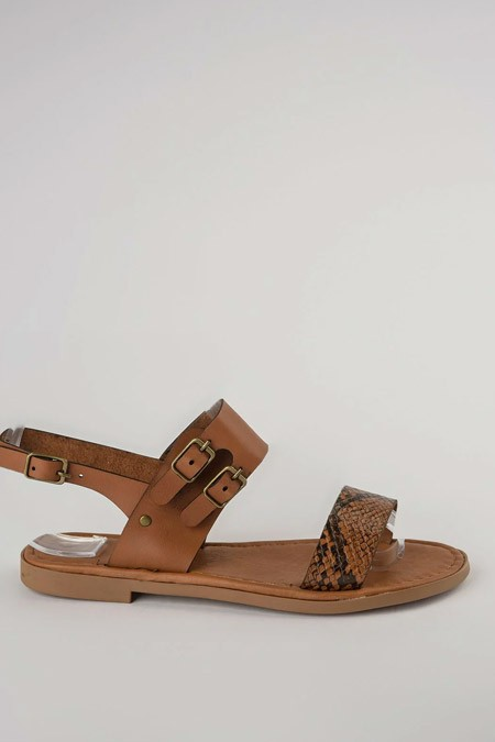 Trendyolmilla Taba Yılan Detaylı Kadın Sandalet